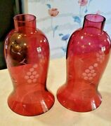 Cranberry Glass Etched Grapes Hurricane Candle Lamp Shades -set Of 2