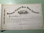 1800and039s Bachman Valley Rail Road Company Stock Certificate Maryland Lancaster Pa