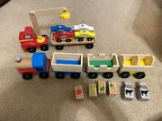 Melissa And Doug 4 Car Wooden Farm Train Set And Magnetic Car Loader As Shown
