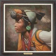 Hand Painted Original Oil Painting Art Chinese Farm Woman On Canvas 30x30