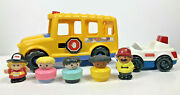 Vintage Fisher Price School Bus Little People Figurines And Police Car Set Lot