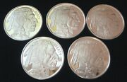 Lot Of 5 Indian Head Silver Buffalo Rounds 1 Oz. .999 Fine Silver