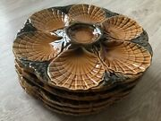Vintage French Majolica 5 Oyster Shell Plate Sarreguemines 1950