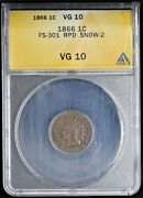 1866 Indian Cent Fs301 Snow 2 Repunched Date Anacs Vg10