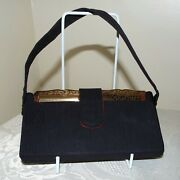 Vintage Stratton Black Party Case Compact Minaudiere With Powder Compact Etc