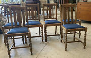 Antique Vintage Set Of Six Solid Oak Barley Twist Dining Chairs