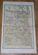 1888 Rare Antique Map Of Dakota Before It Split And Became Two States North South