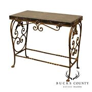 1920and039s Antique Art Deco Wrought Iron Base Marble Top Side Table