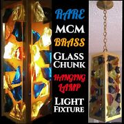 Mid-century Brass Multicolored Glass Chunk Rock Candy Pendant Ceiling Fixture