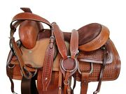Western Roping Roper Ranch Cutting Horse Saddle 17 16 15 Tooled Leather Tack Set