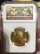2012-w Ngc Ms 70 10 Alice Paul First Spouse Gold Eagle 1/2 Oz Pure Gold