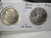 1921 And 2021 Uncirculated 1oz. Silver Eagles And Morgan Dollar 100 Years 12