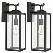 Outdoor Wall Lantern With Dusk To Dawn Photocell, Matte Black Porch Lights Wall