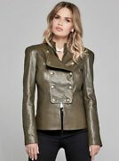 Marciano Helene Leather Military Jacket M Olive Guess Jeans Top Dress Pant Army