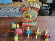 Vintage Wood Pull Toy Fisher Price Gabby Mama Duck And Babies + Teaching Clock