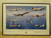 Signed Unframed Airline Poster Depicting All Of The Aircraft Psa Flew