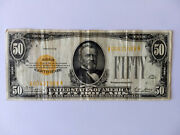 50 Fifty Dollar 1928 Fr 2404 Gold Certificate Yellow Seal