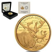 2021 Canada 35 Gram Proof Gold Coin The Caribou - Wildlife Portraits .99999 Fine