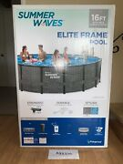 Summer Waves Elite 16ft X 48in Above Ground Frame Swimming Pool With Pump - New
