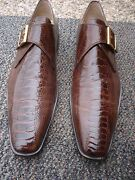 Incredible,stylish Brown Laudino Caccin Premium Ostrich Skin Shoe-made In Italy