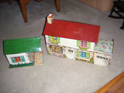 Vtg Htf Marx Suburban Colonial Doll House Metal Tin Toy Lithograph And Garage Shed