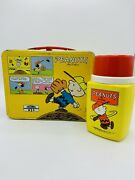 Vintage Peanuts Metal Lunch Box W/ Thermos Snoopy Charlie Brown