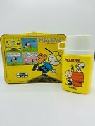 Vintage Peanuts Metal Lunch Box W/ Thermos Snoopy Charlie Brown Read