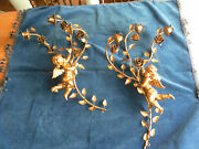 Antique Vintage Pair Italian Gilt Tole Floral Wall Sconces With Roses Putti
