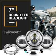 7 Projector Led Headlight Lamp Auxiliary Passing Lights Kit For Harleydavidson