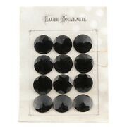 Card 12 Large Czech Vintage Art Deco 1930and039s Black Faceted Glass Buttons 31mm