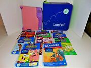 Leappad Learning System Purple Pink Travel Carrying Case 11 Books Cartridges Lot