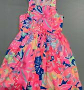 Lily Pulitzer Dress Benicia Print Fit Flare Sleeveless Pleated Size 8 Zip Up