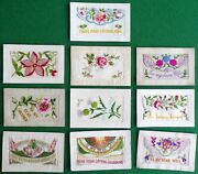 10 Wwi Silk Post Cards