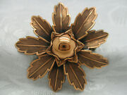 Vintage Estate Jewelry Solid Copper Signed Bell Copper Flower Brooch Pin 2 1/4