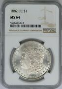 1882-cc Ngc Silver Morgan Dollar Mint State Ms64 Carson City Coin