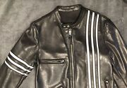 Tom Ford Black Leather Motorcycle/cafe Jacket Racing Stripes Small 38. Pd 4491