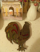 Vintage Stained Glass Orange Red Green Cast Iron Rooster Trivet