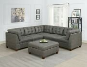 Contemporary Sofa Corners Armless Chairs Ottoman Antique Grey 6pc Sectional Set