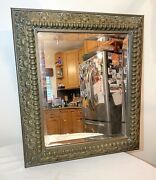 Large Antique Ornate 1800and039s Bronze Victorian Beveled Rectangular Wall Mirror