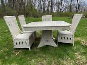 Rare Antique Early Wicker Dining Table And Four Chairs Cabin Porch Furniture Set