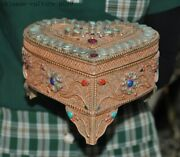 Old Chinese Silver Filigree Gilt Mosaic Gem Heart-shaped Jewelry Box Case Boxes