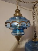 Vtg Glass Hanging Carnival Blue Light Swag Lamp Retro Diffuser On/off Switch