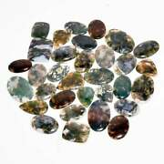 Natural Moss Agate Cabochon Lots. Assorted Gemstone Cabochon Lot Loose Gemstone