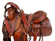 Team Roping Saddle 15 16 17 Western Horse Pleasure Ranch Roper Tooled Leather