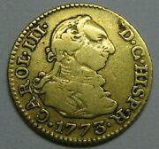 1773 Madrid 1/2 Escudo Charles Iii Spain Gold Doubloon Spanish Colonial Era