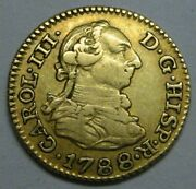 1788 Madrid 1/2 Escudo Charles Iii Spain Gold Doubloon Spanish Colonial Era