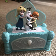 Disney Frozen Music Jewelry Box Elsa Olaf Anna Animated Moving Singing Teal Blue