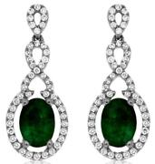 Estate 1.82ct Diamond And Aaa Emerald 14k White Gold Oval And Round Hanging Earrings