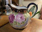 Vintage Hand Painted Roses Nippon Pitcher Blue Gold Trim 5 7/8 Tall Un Marked