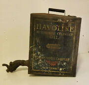 Vintage Oil Can Havoline Automobile Company 5 Gallon Cylinder Oil Rare Early